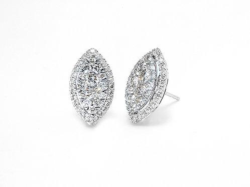 [ E29 ] 18K White Gold Diamond Earrings