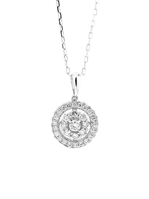 [ N37 ] 'round' 18K White Gold Diamond Necklace
