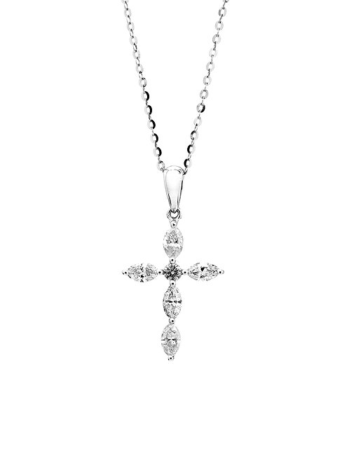 [ N38 ] 18K White Gold Diamond Necklace