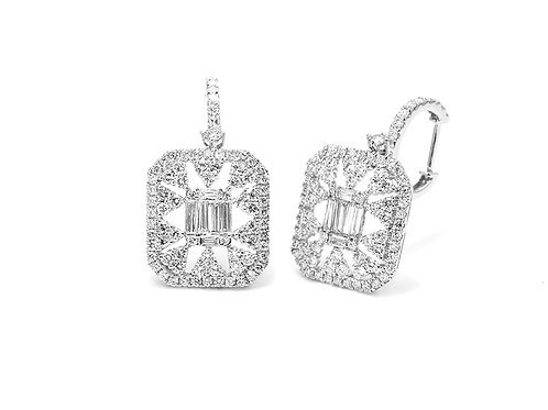 [ E19 ] 18K White Gold Diamond Earrings