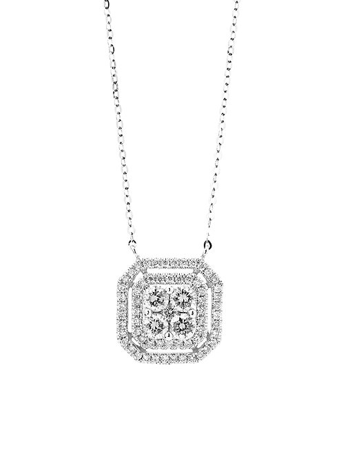 [ N35 ] 18K White Gold Diamond Necklace