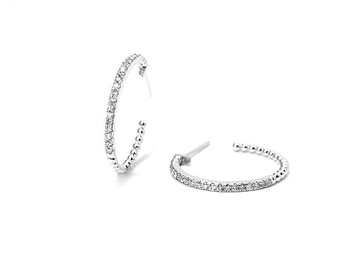 [ E32 ] 18K White Gold Diamond Earrings