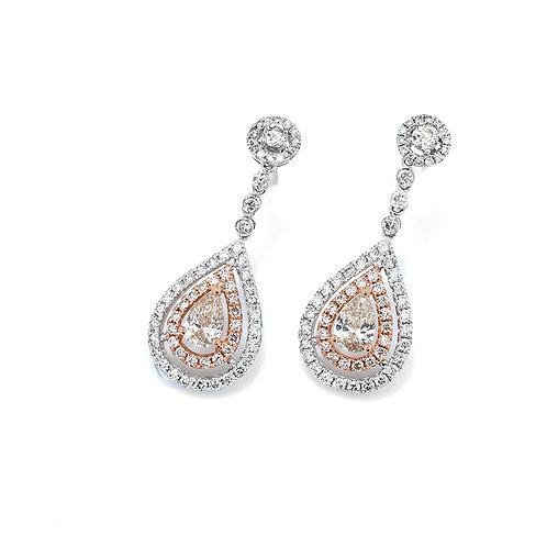 [ E17 ] 18K White Rose Gold Diamond Earrings