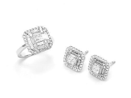 [S53] 18K白金鑽石 - 戒指 + 耳環項鍊套裝