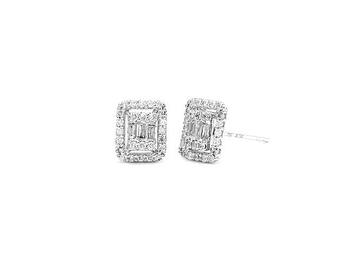[ E28 ] 18K White Gold Diamond Earrings