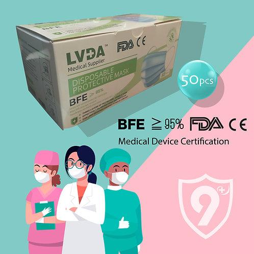 🔹兩盒裝🔹[ 9°同💗抗疫 ] LVDA™ 9˚ 3層一次性防护口罩