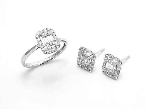 [ S52 ] 18K White Gold Diamond - Ring & Earrings Set
