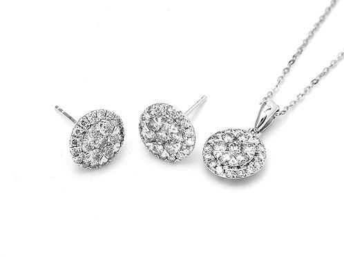[ S51 ] 8K White Gold Diamond - Necklace & Earrings  Set