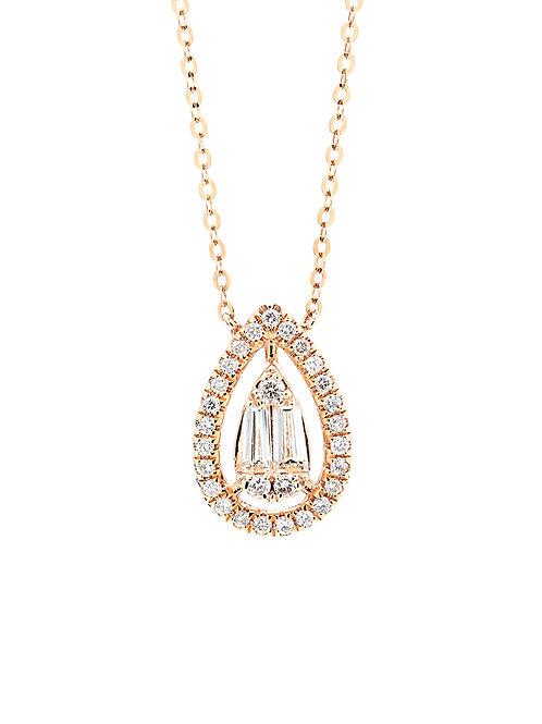 [N33] 18K玫瑰金鑽石項鍊