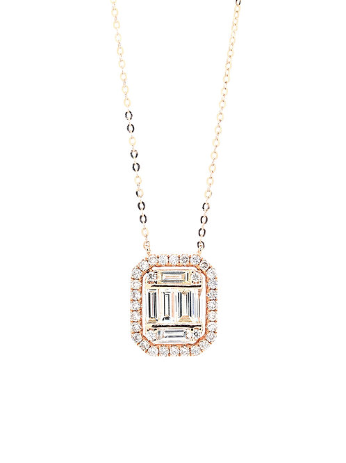 [ N34 ] 18K Rose Gold Diamond Necklace