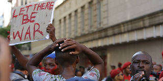 A political protest in Cape Town, South Africa