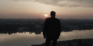 Former Bell Pottinger Iraq special operations unit head Paul Bell overlooking Baghdad, Iraq