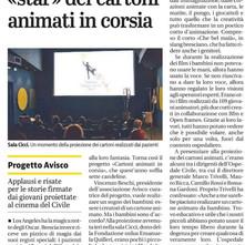 proiezione speciale dei Cartoni Animati in Corsia nella piccola ma vera sala cinematografica CICCI g