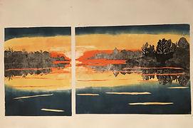 sunset, print, monotype