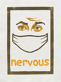 mask, covid art, monotype printmaking