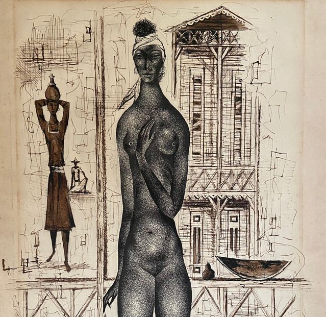 Composition with Figure on Porch (Haitian Theme)
