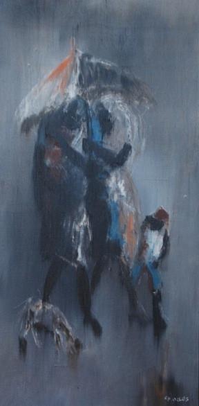Family in Rain