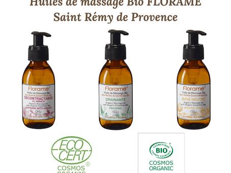 Huiles de massage bio de chez FLORAME à Saint Rémy de Provence.