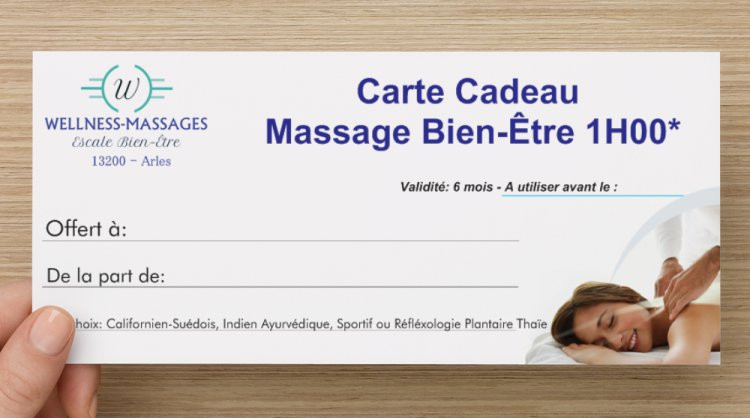 Carte Cadeau Wellness Massages Arles