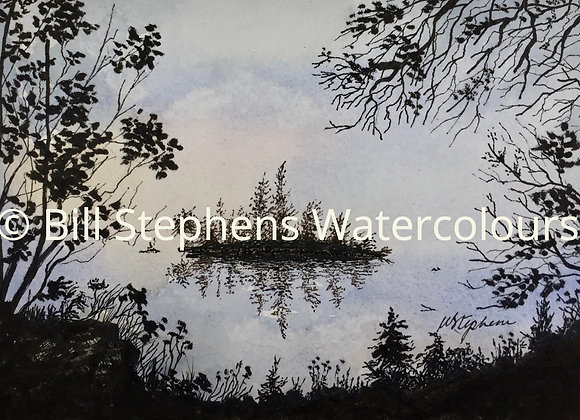 Original Watercolour Painting - Island in Silhouette