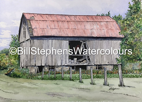 Original Watercolour Painting -Old barn/ 539 Vittoria Road Norfolk County