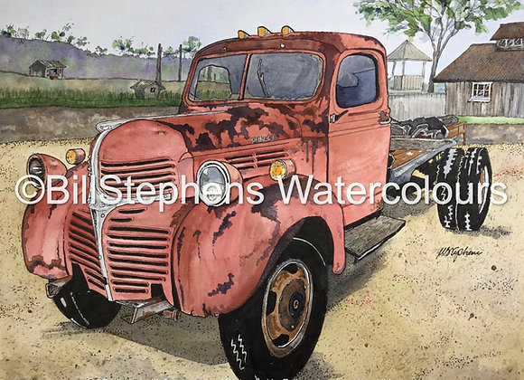 Original Watercolour Painting -1947 Dodge WF-21 1.5 Ton Truck