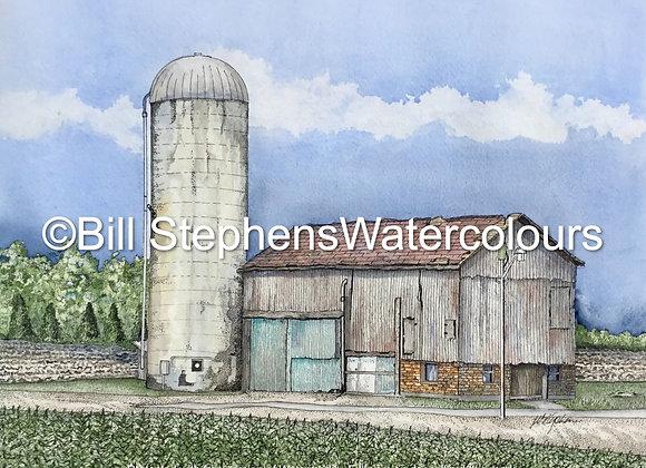Original Watercolour Painting -  Highway 73 Barn