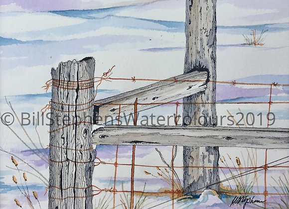 Original Watercolour Painting - Fence on Cromarty Drive (Large)