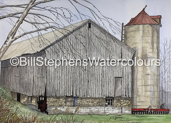 Original Watercolour Painting - Brady Road Barn - Thames Centre Ontario
