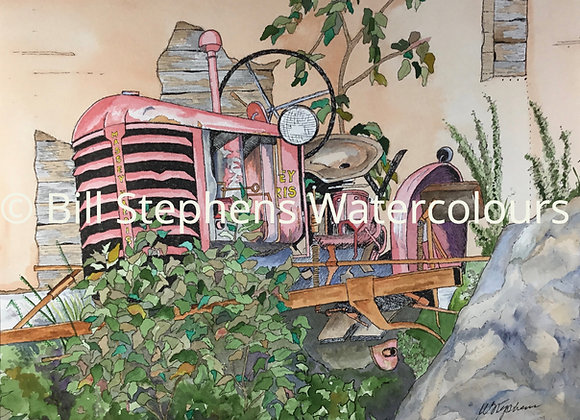Original Watercolour Painting - Red Tractor
