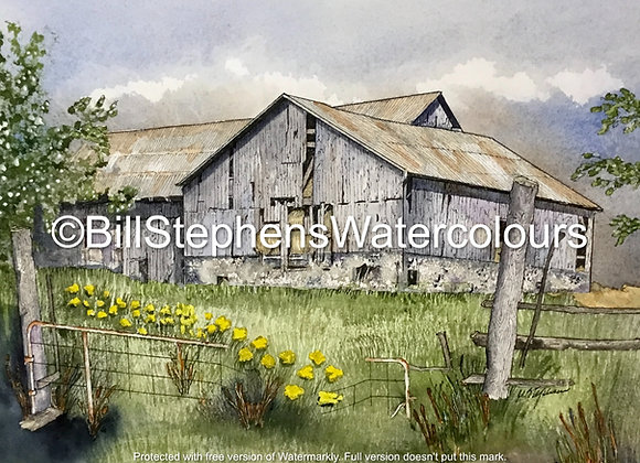 Original Watercolour Painting - Old weathered barn