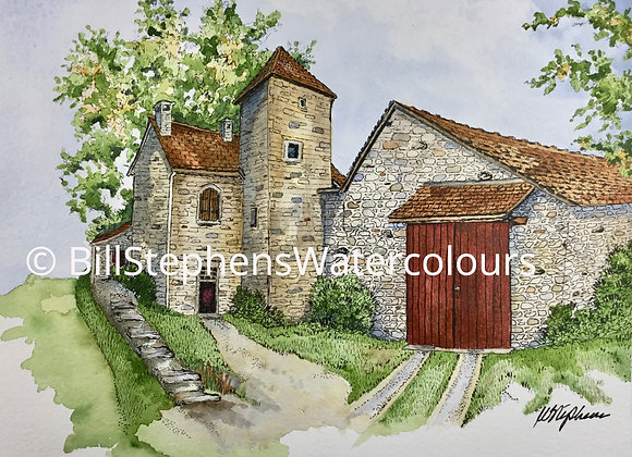 Original Watercolour Painting - Home in Chateauneuf-en-auxois, France