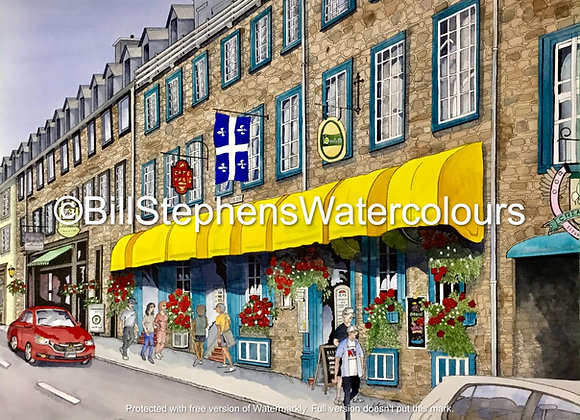 Original Watercolour Painting - Québec  City Street Scene