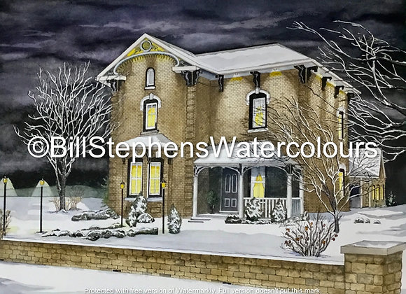 Original Watercolour Painting - Victorian Style House at Night