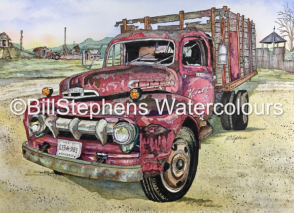 Original Watercolour Painting - 1951 Mercury Truck