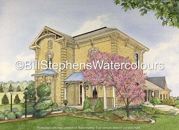 Original Watercolour Painting - Victorian Style house