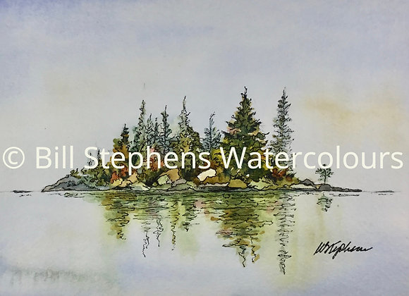 Original Watercolour Painting - Island with Fall colours