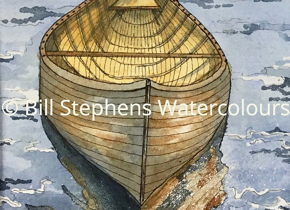 Original Watercolour Painting - Wooden Canoe