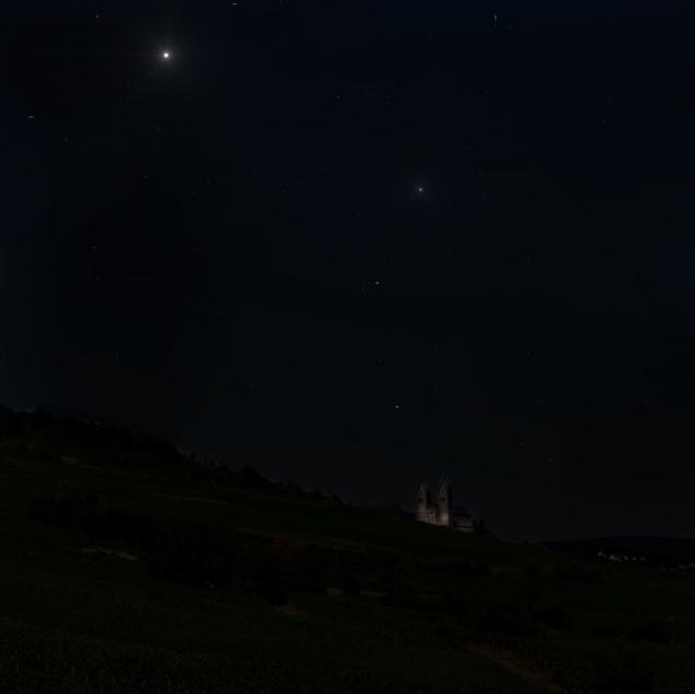 Eine Burg bei Nacht