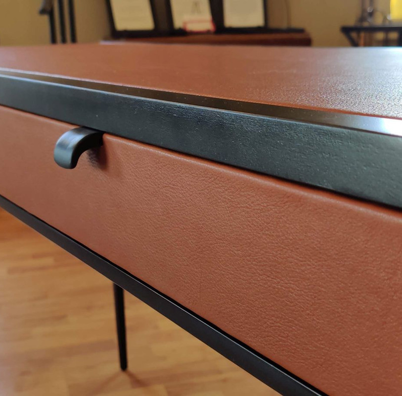 Custom Leather Wrapped Steel Table