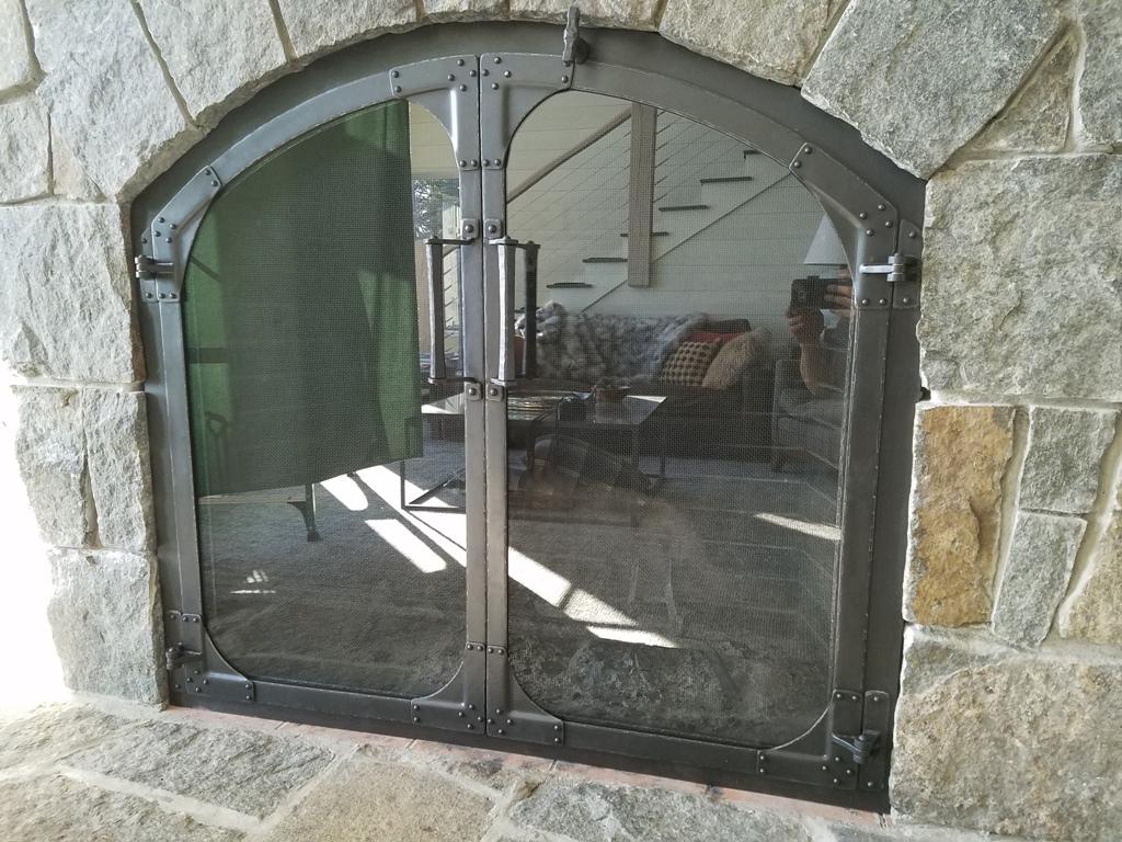 Glass Fireplace Doors w Screens behind