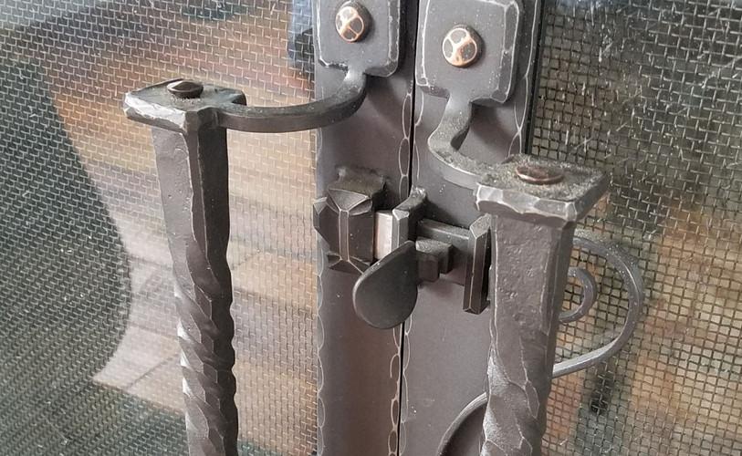 Custom Forged Fireplace Door Handles
