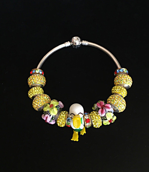 e93edf286c8a64 Silver Bracelet.....JEWELRY..... created with italian Murano Glass-handmade  GORGEOUS DUCK color:,-vellow/ green/white and crystal gold pavè rainbow  balls .