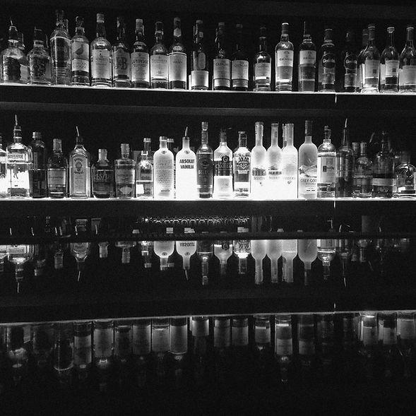 An array of liquor bottles