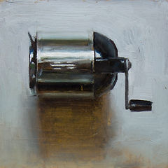 "Lucas Bononi, ""Sharpiner"", 2016; 6 x 6 in., oil on board, photo: courtesy of artist oil stilllife paintings sfart bayareaart wip fineart disegno oilpainting aau pintura painting art contemporary realism lightswitch light switch on button metal apliance square double box trompe l'oeil shiny mechanical pencil sharpen sharp on point"