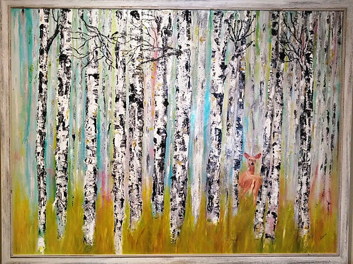 The Lookout  (Birch trees with deer)
