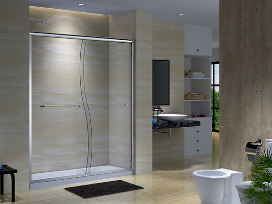 """CK Series 56"""" to 59 1/2"""" Semi-Frameless Sliding Shower Doors with S-Shaped Glass"""