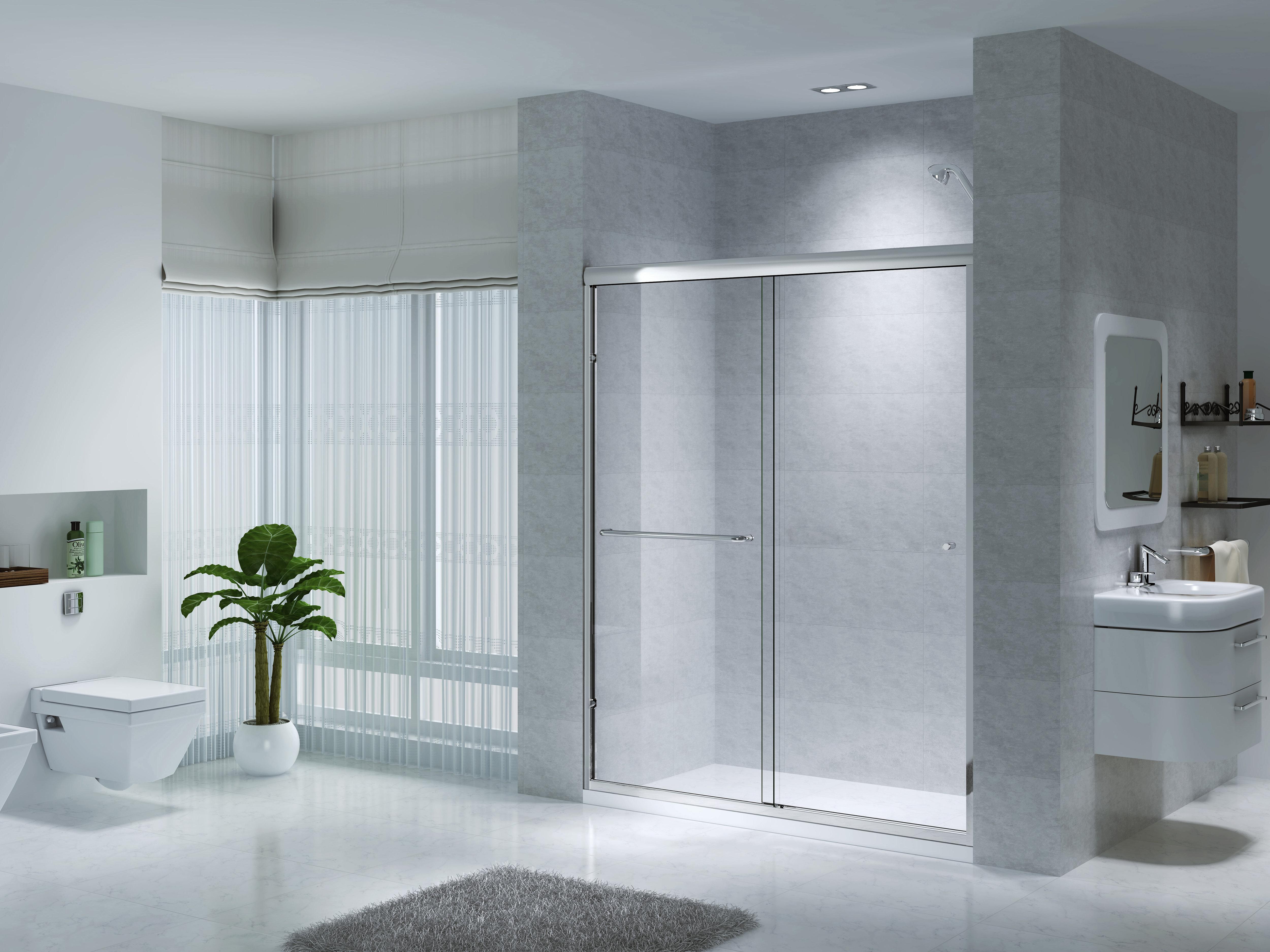 Ck Series 48 To 59 1 2 Semi Frameless Sliding Shower Doors