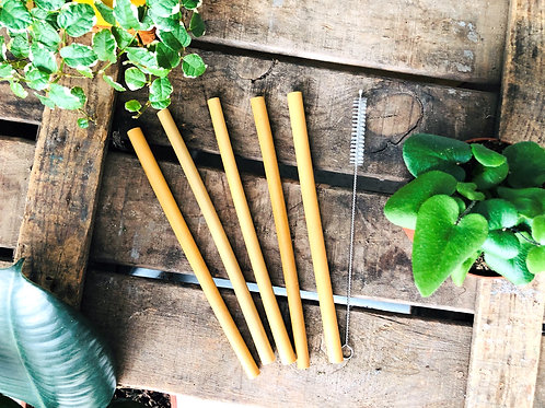 Lot de 5 pailles en bambou & 1 goupillon
