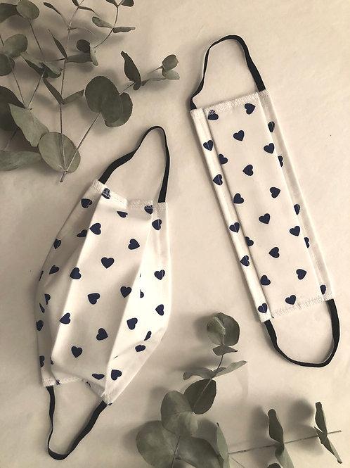 Masque lavable AFNOR - blanc cœurs bleu marine